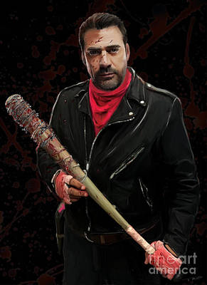 Negan With Blood Print by Paul Tagliamonte