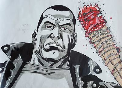 Lucille Drawing - Negan Is Here by Oscar Rodriguez III