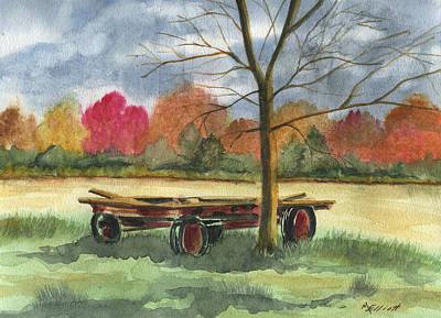 Neighbor Dons Old Wagon Print by Marsha Elliott