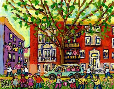 Neighborhood Block Party Paintings Of Children Summer Street Scene Montreal Art Carole Spandau       Original by Carole Spandau