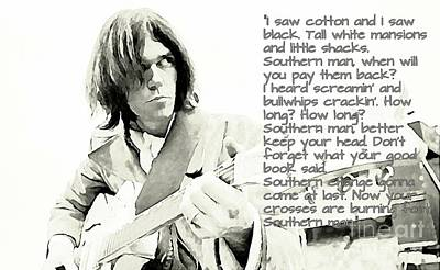 Neil Young Mixed Media - Neil Young And Lyrics by John Malone