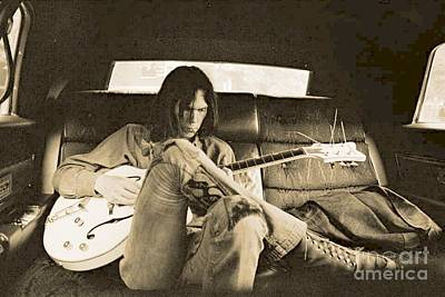 Neil Young Digital Art - Neil Young In The Backseat by John Malone