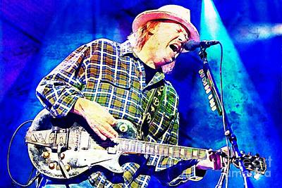 Neil Young Digital Art - Neil Young On Stage by John Malone