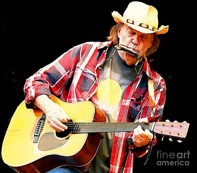 Neil Young Digital Art - Neil Young Playing Blues Harp by John Malone