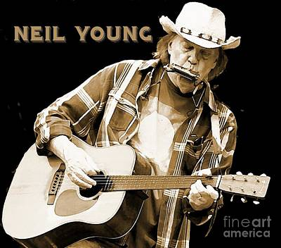 Neil Young Drawing - Neil Young Poster by John Malone