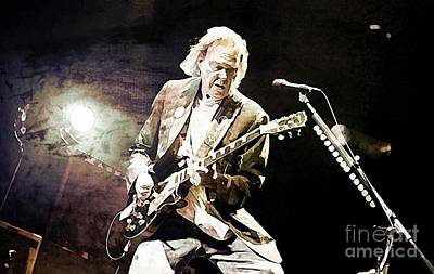 Neil Young Sepia And Textures Print by John Malone