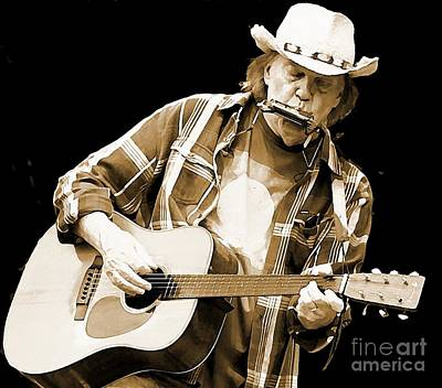 Neil Young Mixed Media - Neil Young Sepia Toned Watercolor by John Malone