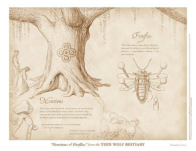 Nemetons And Fireflies Print by Swann Smith