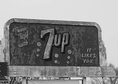 7up Sign Photograph - Neon 7up Sign Merced Ca by Troy Montemayor