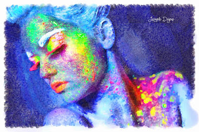 Luminescent Digital Art - Neon Beauty - Da by Leonardo Digenio