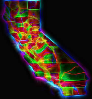 San Francisco Cali Digital Art - Neon California State Map by Dan Sproul
