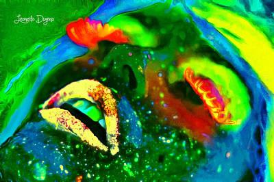 Luminescent Digital Art - Neon Face - Da by Leonardo Digenio