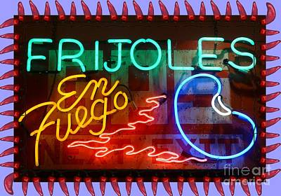 Tex-mex Photograph - Neon Frijoles And Peppers And Gas by Barbie Corbett-Newmin