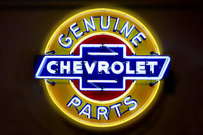 Signed Digital Art - Neon Genuine Chevrolet Parts Sign by Mike McGlothlen