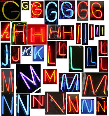 A.v. G Photograph - neon series G through N by Michael Ledray