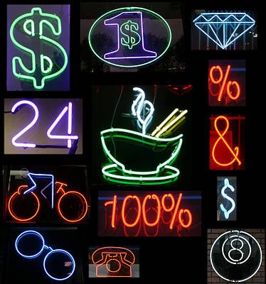 Neon Sign Series Of Various Symbols Print by Michael Ledray