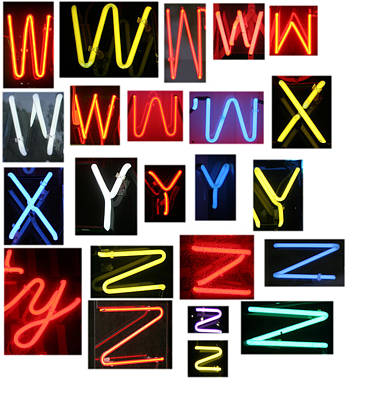 A.v. G Photograph - Neon Sign Series W Through Z by Michael Ledray