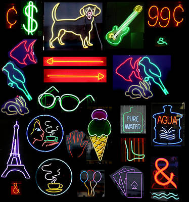 Neon Sign Series With Symbols Of Various Shapes And Colors Print by Michael Ledray