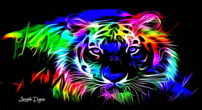 Atom Digital Art - Neon Tiger - Da by Leonardo Digenio