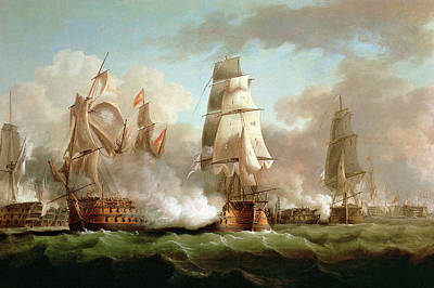 Water Vessels Painting - Neptune Engaged At The Battle Of Trafalgar by J Francis Sartorius