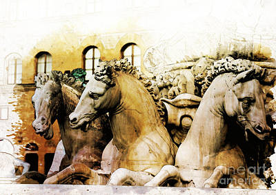 Horse Painting - Neptune's Horses by Diana Van