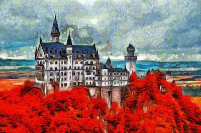 Richard Digital Art - Neuschwanstein Castle - Da by Leonardo Digenio
