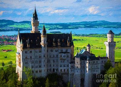 Field. Cloud Painting - Neuschwanstein Castle 3- Bavaria - Germany by Gary Whitton