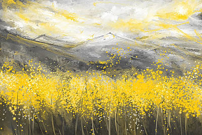 Neutral Sun - Yellow And Gray Art Print by Lourry Legarde