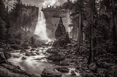 Photograph - Nevada Fall Monochrome by Scott McGuire