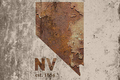 Reno Mixed Media - Nevada State Map Industrial Rusted Metal On Cement Wall With Founding Date Series 044 by Design Turnpike