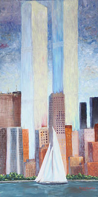 Twin Towers Nyc Painting - Never Forget by Vickie Schafer