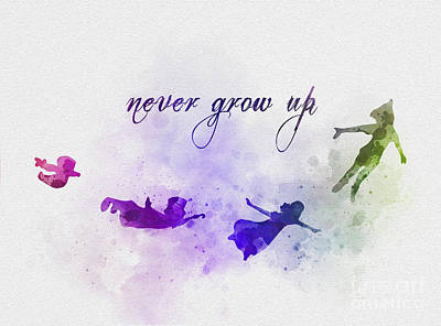 Tinker Mixed Media - Never Grow Up by Rebecca Jenkins