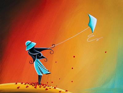 Kites Painting - Never Let Go by Cindy Thornton