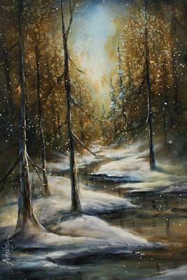 Winter Scene Painting - Neverending by Michael Lang
