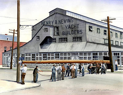 Bronx Painting - Nevins Boat Yard by Marguerite Chadwick-Juner