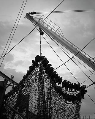Netting Photograph - New Bedford Waterfront Xvii Bw by David Gordon