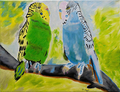 Aloha And Tweetles Parakeets Original by Meryl Goudey