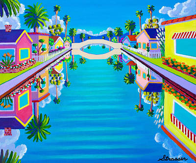 Venice Beach Painting - New Day On Retro Canal by Frank Strasser