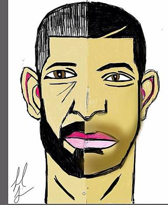 Drake Drawing - New Drake Vs Old Drake by Picard Losier
