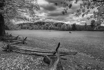 Farm Photograph - New England Autumn Field Bw by Bill Wakeley