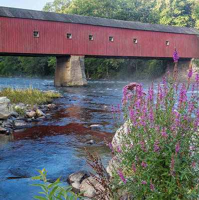 Autumn Photograph - New England Covered Bridge Connecticut Square by Bill Wakeley