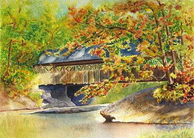 New England  Covered Bridge Print by Karen Fleschler