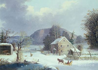 New England Winter Scene Painting - New England Farm By A Winter Road, 1854  by George Durrie