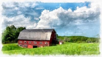 Maine Farms Photograph - New England Farm Landscape Watercolor by Edward Fielding