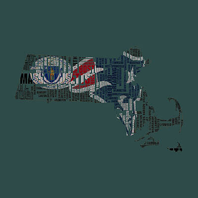 Us Flag Mixed Media - New England Patriots Typographic Map by Brian Reaves