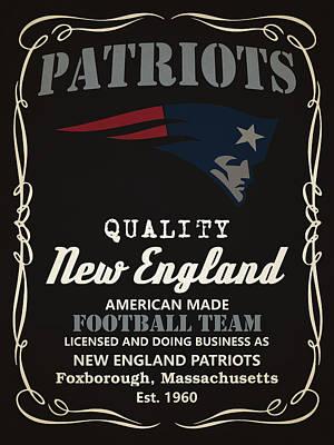 New England Patriots Whiskey Print by Joe Hamilton