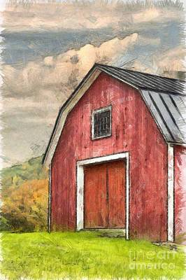 Colored Pencil Photograph - New England Red Barn Pencil by Edward Fielding