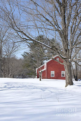New England Red House Winter Print by Edward Fielding