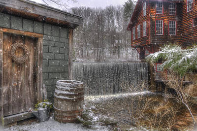 New England Snow Scenes - Frye's Measure Mill - Wilton, Nh Print by Joann Vitali