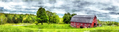 New Hampshire Landscape Red Barn Etna Print by Edward Fielding